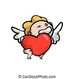 söt, ängel, hjärta, stor, le, blondin, röd, unge