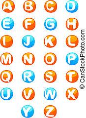 söt, 3, färgad, alfabet