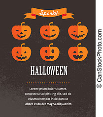 söt, affisch, halloween, illustration, vektor, pumpkins.