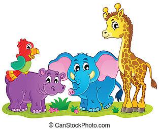 söt, afrikansk, djuren, tema, avbild, 4