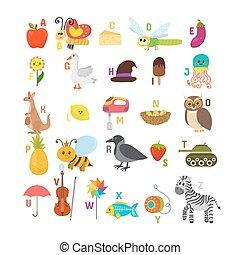 söt, alfabet, djuren, elements., rolig, alfabet, barn, read., annat, erfara, tecknad film