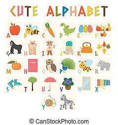 söt, alfabet, djuren, ordlista, elements., rolig, alfabet, tecknad film, education., annat, barn