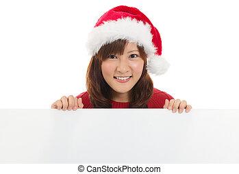 söt, asiat, jul, jultomten, kvinna