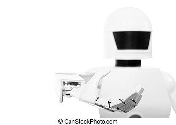 söt, autonom, närbild, robot, service