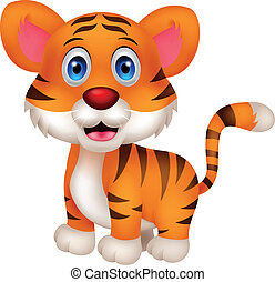 söt, baby, tiger, tecknad film