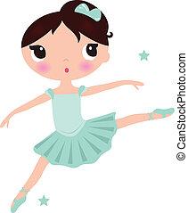 söt, ballerina, isolerat, cyan, flicka, vit