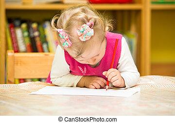 söt, barn, flicka, teckning, med, färgrik, blyertspenna, in,...