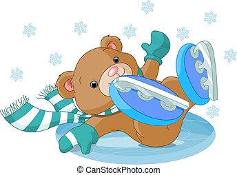 söt, björn, fälla, till, den, skridskobana
