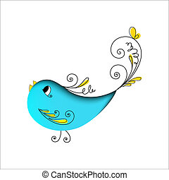 söt, blå fågel, med, blom grundämnen