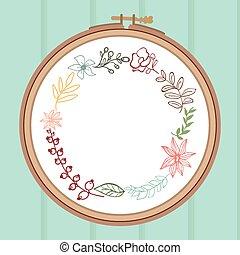 söt, blomma, frame., bakgrund., bukett, illustration, trä, vektor, broderi, lager, kort