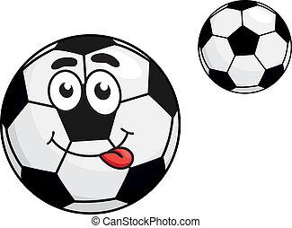 söt, boll, framskjutande, tunga, fotboll, tecknad film