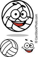 söt, boll, tecknad film, volleyboll