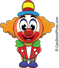 söt, clown, tecknad film