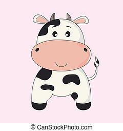 söt, cow., rolig, illustration, hand, vektor, oavgjord