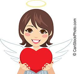söt, cupid, ängel, hjärta