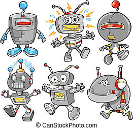 söt, cyborg, vektor, sätta, robot