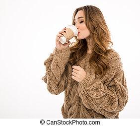 söt, dam, drickande, coffee.