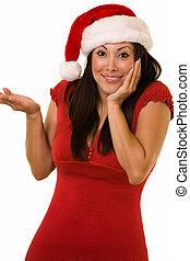 söt, dam, jultomten