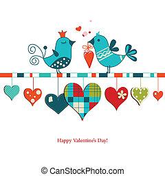 söt, delning, kärlek, valentinkort, fåglar, design, dag