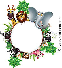 söt, djur, tecknad film, kollektion
