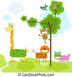 söt, djuren, design