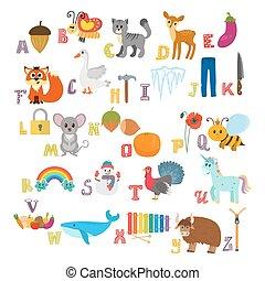 söt, djuren, elements., rolig, läsa, alfabet, abc., tecknad film, annat, erfara, barn