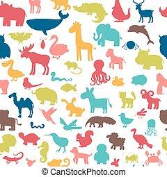 söt, djuren, färgad, mönster, seamless, bakgrund, silhouettes.