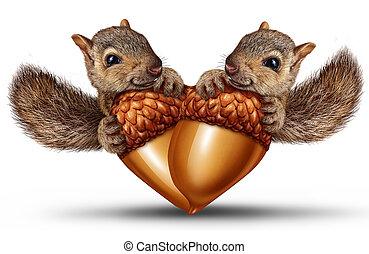 söt, djuren, i kärlek