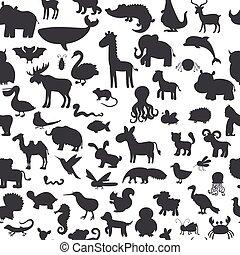 söt, djuren, mönster, seamless, svart fond, silhouettes.