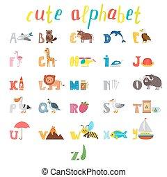 söt, djuren, ordlista, elements., rolig, alfabet, abc., barn...