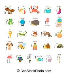 söt, djuren, ordlista, elements., rolig, alfabet, abc., tecknad film, annat, utbildning, barn