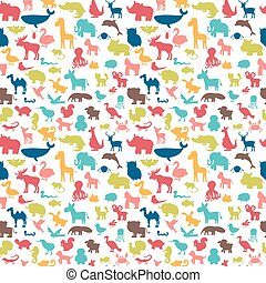 söt, djuren, pattern., seamless, silhouettes, bakgrund