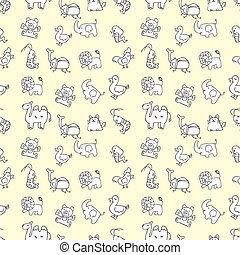 söt, djuren, seamless, mönster