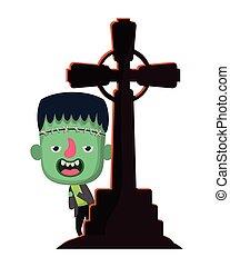 söt, dräkt, litet, kors, frankenstein, pojke, kyrkogård