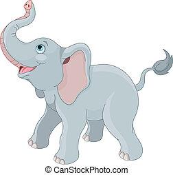 söt, elefant