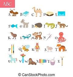 söt, elementara, djuren, ordlista, rolig, alfabet, abc., barn, education., annat, tecknad film