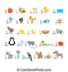 söt, elementara, djuren, rolig, alfabet, abc., barn, read., annat, erfara, tecknad film