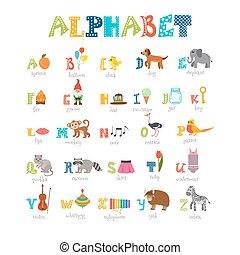 söt, elementara, djuren, rolig, alfabet, tecknad film, annat, barn
