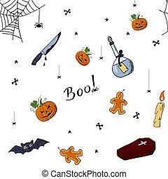 söt, elements., mönster, hand, oavgjord, halloween