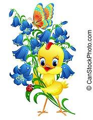 söt, fågelunge, med, blomningen