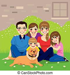 söt, familj, lycklig