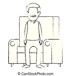 söt, farfar, tecken, avatar, soffa