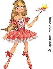söt, fe, dansande, ballerina