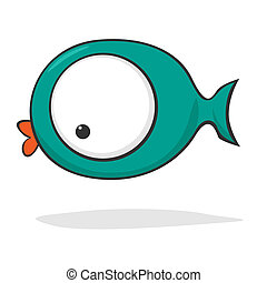 söt, fish, tecknad film