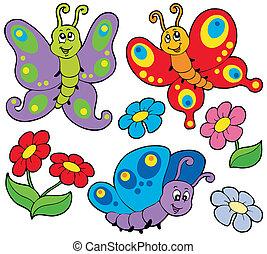 söt, fjärilar, olika