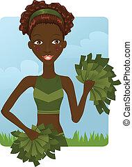 söt, flicka, afrikansk, hejarklacksanförare