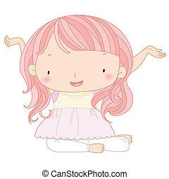 söt, flicka, illustration