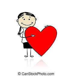 söt, flicka, med, valentinbrev, hjärta, plats, för, din,...