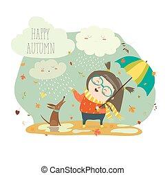 söt, flicka, paraply, leka, regna