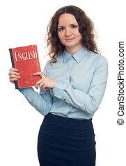 söt flicka, visande, engelsk, textbook., isolerat